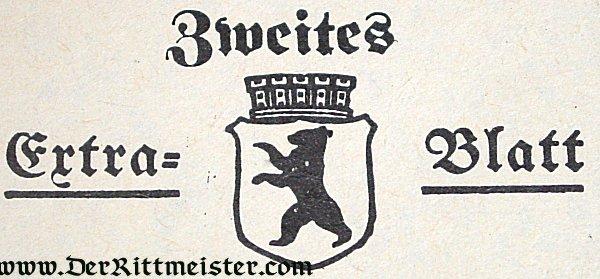 BERLIN NEWSPAPER - ASSASSINATION - AUSTRIAN ARCHDUKE FRANZ-FERDINAND - Imperial German Military Antiques Sale