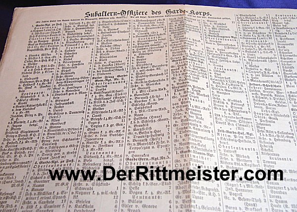 1909 GARDEKORPS OFFICERS LISTING - Imperial German Military Antiques Sale