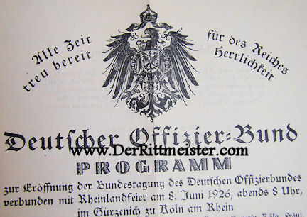 1926 MUSICAL PROGRAM - OFFICERS' BUND - Imperial German Military Antiques Sale