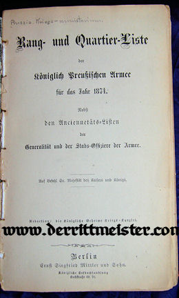 1874 RANGLISTE - PRUSSIA - Imperial German Military Antiques Sale
