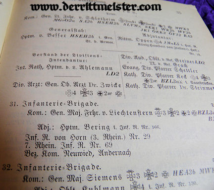 1899 NACHTRAG zur RANG und QUARTIER LISTE - PRUSSIAN ARMY - XIII. WÜRTTEMBERG ARMEEKORPS - Imperial German Military Antiques Sale