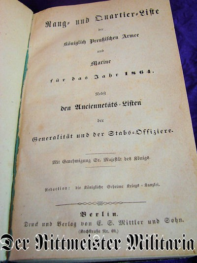 1835 RANG und QUARTIER=LISTE - PRUSSIA - Imperial German Military Antiques Sale