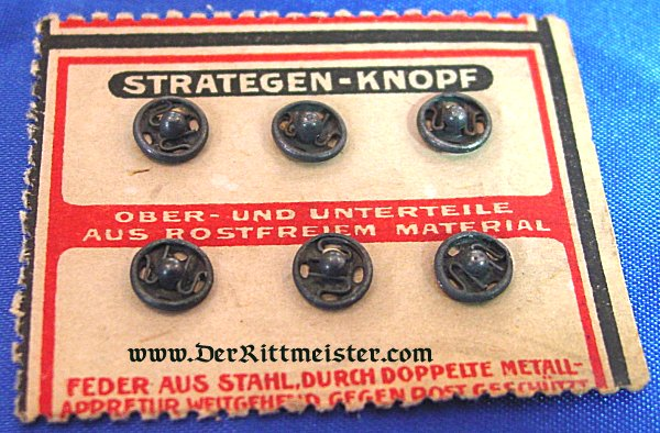 SIX SMALL SNAP BUTTONS FOR MILITARY USE ON ORIGINAL SALES CARD - Imperial German Military Antiques Sale