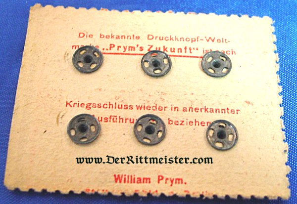 UNIFORM SNAP BUTTONS FOR MILITARY USE ON ORIGINAL SALES CARD - Imperial German Military Antiques Sale