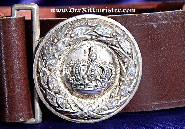OFFICER'S LEATHER BELT AND BUCKLE - BAVARIA - Imperial German Military Antiques Sale