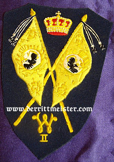 SLEEVE PATCH - REGIMENTAL FAHENTRÄGER PREWAR - FOR A DUNKEL-BLAU TUNIC - PRUSSIA - Imperial German Military Antiques Sale
