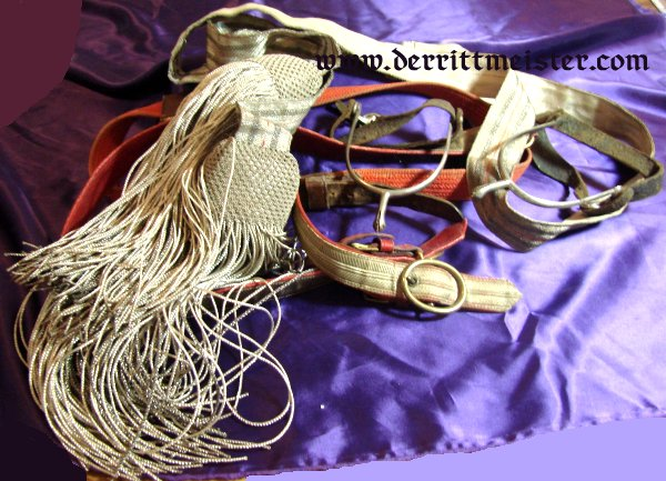 INFANTERIE OFFICER'S DRESS BELT/SASH - SWORD BELT - SPUR ENSEMBLE - Imperial German Military Antiques Sale