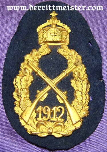 KAISER WILHELM II 1912 INFANTERIE-REGIMENT SHOOTING PRIZE - Imperial German Military Antiques Sale