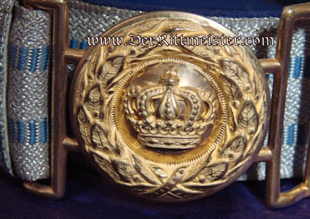 INFANTERIE OFFICER'S BROCADE BELT AND BUCKLE - BAVARIA - Imperial German Military Antiques Sale