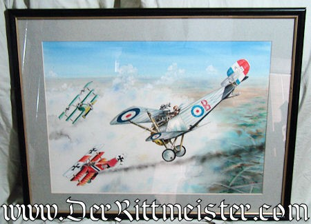 ORIGINAL PAINTING FEATURING TWO JASTA 11 FOKKER Dr. 1's (TRIPLANES) AND ONE BRITISH NIEUPORT 17c by JACK D. HUNTER - Imperial German Military Antiques Sale