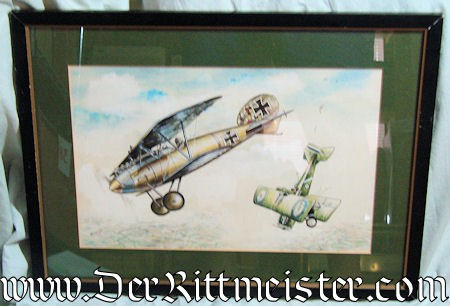 ORIGINAL PAINTING FEATURING ONE ALBATROS D. Va AND ONE SE-5 by JACK D. HUNTER - Imperial German Military Antiques Sale