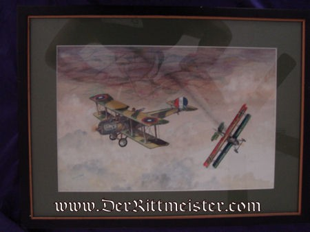 ORIGINAL PAINTING - U. S. SALMSON TWO-SEATER FENDING-OFF PFALZ D-XII'S ATTACK by JACK D. HUNTER - Imperial German Military Antiques Sale