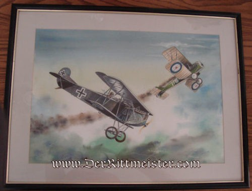 ORIGINAL PAINTING - FOKKER D. VII. SHOOTING DOWN BRITISH S. E. 5. by JACK D. HUNTER - Imperial German Military Antiques Sale