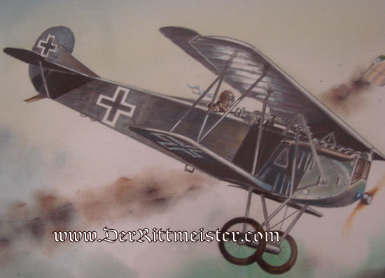 JACK D. HUNTER - ORIGINAL PAINTING - FEATURING FOKKER D. VII. SHOOTING DOWN BRITISH S. E. 5. - Imperial German Military Antiques Sale