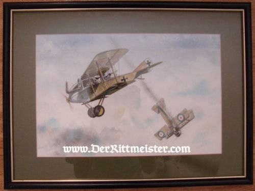 "ORIGINAL PAINTING - ALBATROS C. III & BRISTOL ""D"" SCOUT by JACK D. HUNTER - Imperial German Military Antiques Sale"