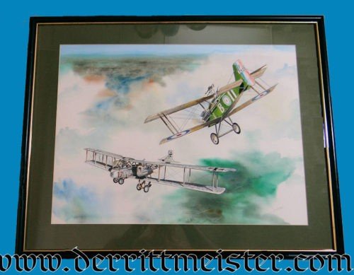 ORIGINAL PAINTING - GOTHA G. V. BOMBER ATTACKED BY SE-5A by JACK D. HUNTER - Imperial German Military Antiques Sale