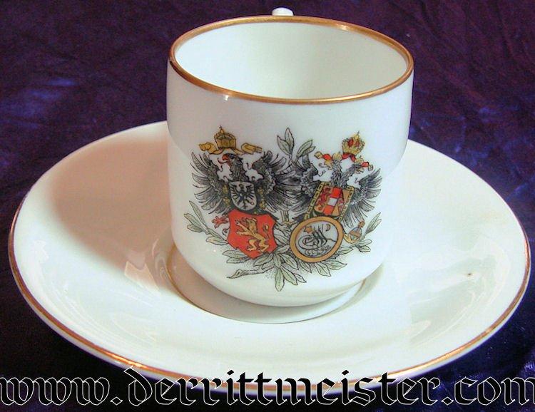 PATRIOTIC DEMITASSE COFFEE CUP - SAUCER - Imperial German Military Antiques Sale