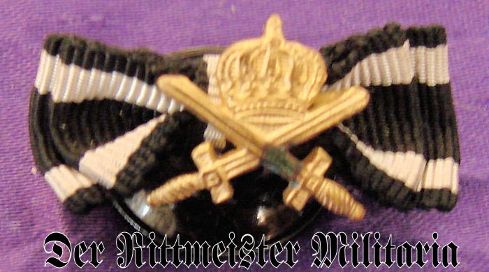 MINIATURE - HOHENZOLLERN HOUSE ORDER KNIGHT'S CROSS WITH SWORDS AND IRON CROSS 2nd CLASS RIBBONS - Imperial German Military Antiques Sale