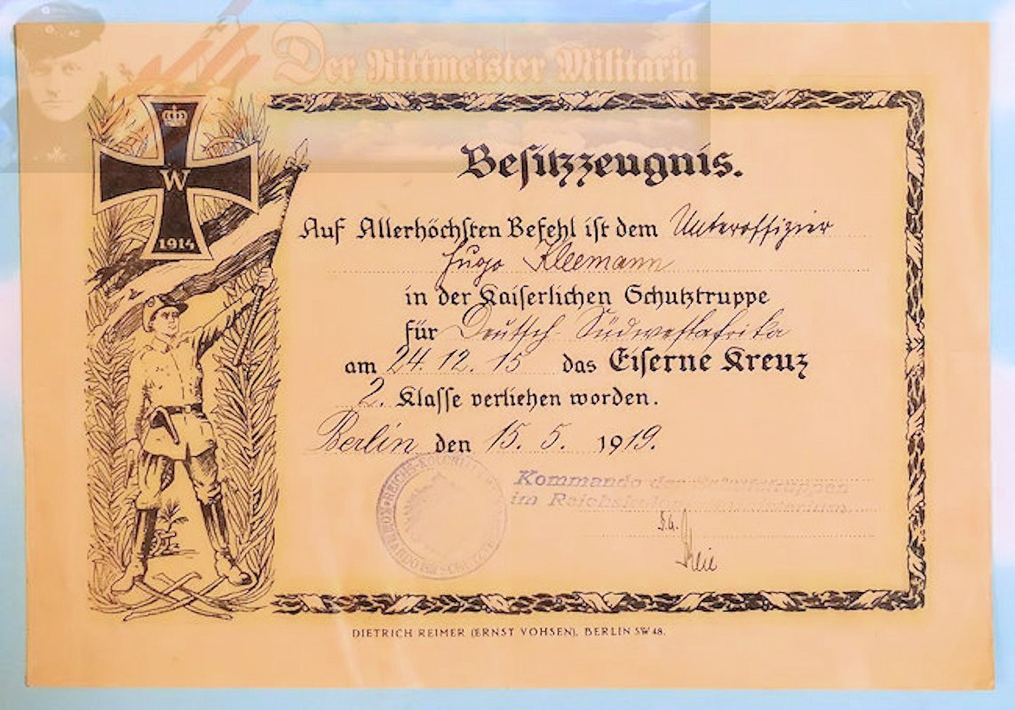 AWARD DOCUMENT GROUP FOR GERMAN SOUTHWEST AFRICA SCHUTZTRUPPEN MEMBER - Imperial German Military Antiques Sale