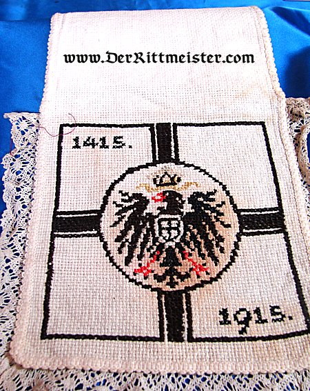 CROCHETED/EMBROIDERED HOT PAD COMMEMORATING 500 YEARS OF GERMANY (1415-1915) - Imperial German Military Antiques Sale