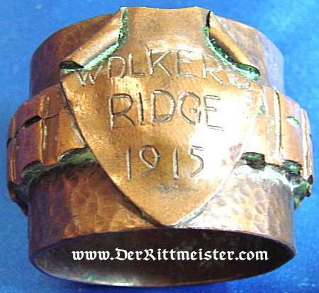 "TRENCH ART NAPKIN RING ""WALKER RIDGE 1915"" - Imperial German Military Antiques Sale"