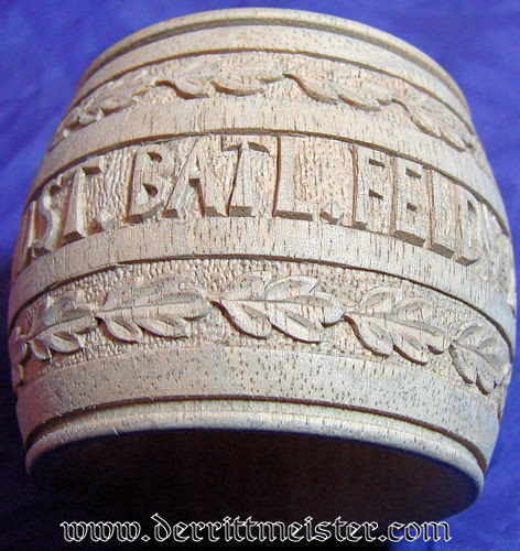 HAND CARVED PATRIOTIC NAPKIN RING - VETERAN - Imperial German Military Antiques Sale