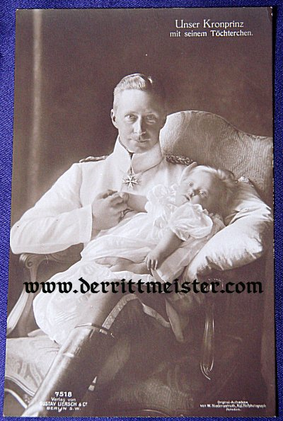 POSTCARD - KRONPRINZ WILHELM WITH YOUNG CHILD - Imperial German Military Antiques Sale