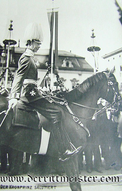 POSTCARD - KRONPRINZ WILHELM MOUNTED DURING PARADE - Imperial German Military Antiques Sale