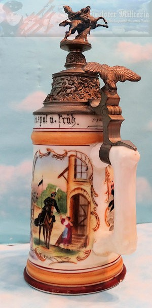 VETERAN'S STEIN - BRAUNSCHWEIG - HUSAREN-REGIMENT NR 17 - Imperial German Military Antiques Sale