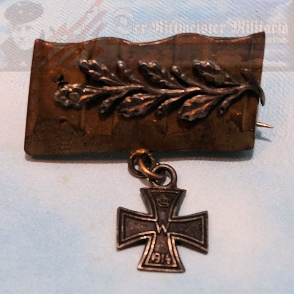PATRIOTIC PIN - TRENCH ART - IRON CROSS - .800 SILVER HALLMARK