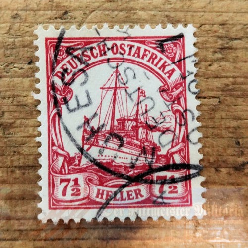 STAMP - GERMAN COLONIAL - GERMAN EAST AFRICA - 7 ½ HELLER - POSTMARKED MUHESA - Imperial German Military Antiques Sale