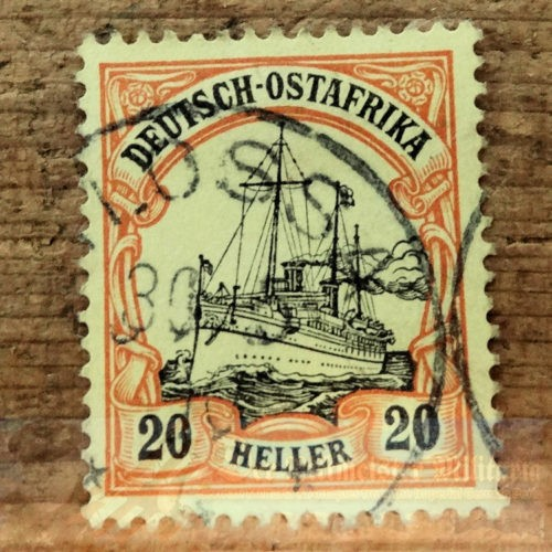 STAMP - GERMAN COLONIAL -  GERMAN EAST AFRICA - 20 HELLER - POSTMARKED LOSSA - Imperial German Military Antiques Sale