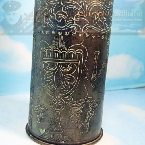 TRENCH ART - ARTILLERY SHELL CASING - 75MM - FRANCE - Imperial German Military Antiques Sale