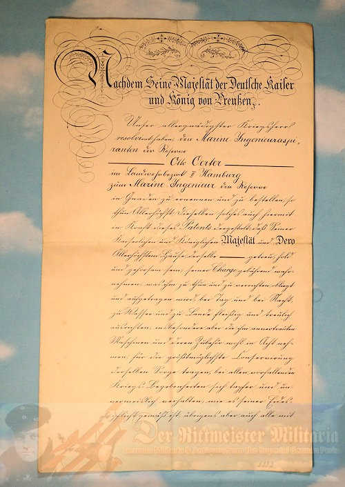 PROMOTION PATENT - NAVAL ENGINEER/OFFICER - Imperial German Military Antiques Sale