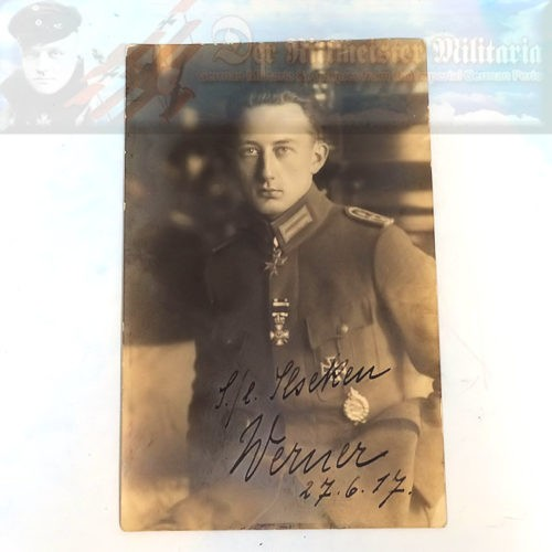 PHOTOGRAPH - ORIGINAL -PERSONALIZED AND AUTOGRAPHED BY 48-VICTORY POUR le MÉRITE-WINNING PILOT WERNER VOß - Imperial German Military Antiques Sale