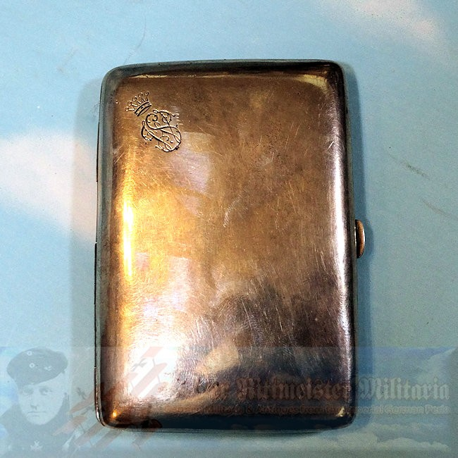 SAXONY - CIGARETTE CASE - STERLING SILVER - PRESENTATION FROM KING FRIEDRICH AUGUST - Imperial German Military Antiques Sale