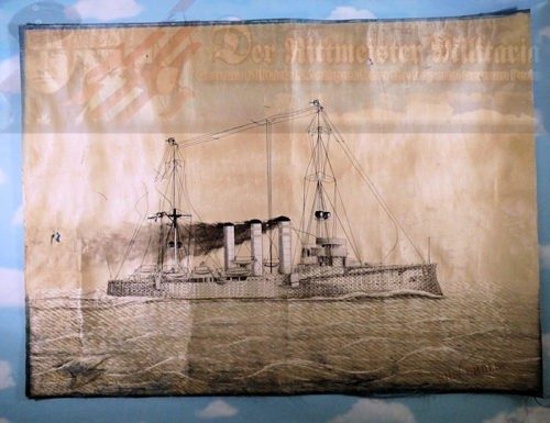 PAINTING - S.M.S. EMDEN - ENHANCED SILK THREAD - Imperial German Military Antiques Sale