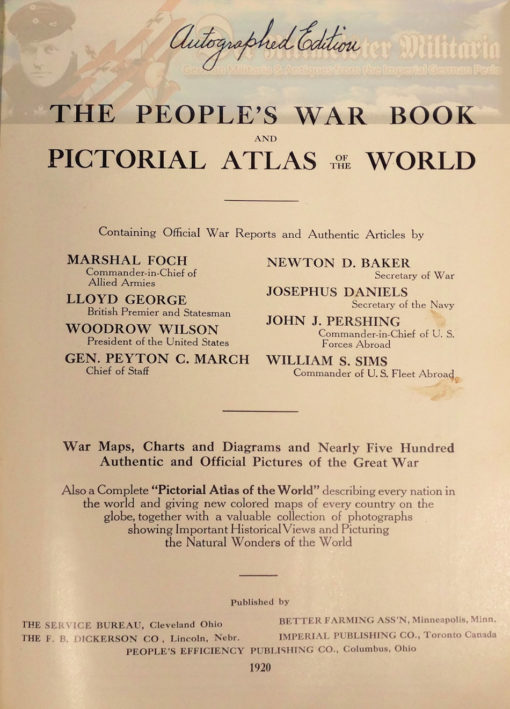 BOOK - THE PEOPLES WAR BOOK & ATLAS - AUTOGRAPHED EDITION - Canadian ace Billy Bishop - Imperial German Military Antiques Sale