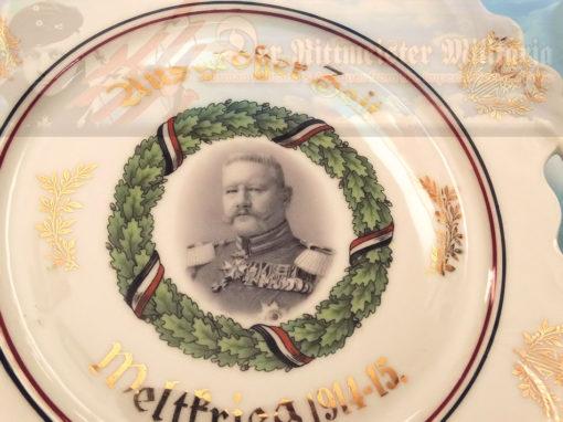 PLATE - PATRIOTIC FEATURING GENERALFELDMARSCHALL PAUL VON HINDENBURG - Imperial German Military Antiques Sale