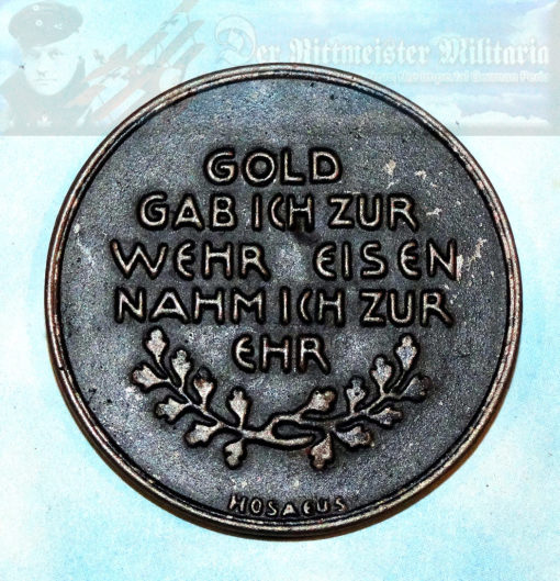 """TABLE MEDAL - """"GOLD FOR IRON"""" - Imperial German Military Antiques Sale"""