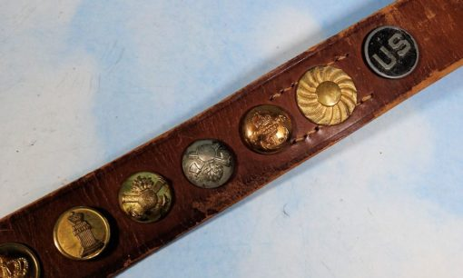 """BELT - """"HATE BELT"""" ASSEMBLED BY AMERICAN SOLDIER - FEATURES TWENTY-FOUR DIFFERENT BUTTONS, INCLUDING A KOKARDE AND OFFICER'S PIPS - Imperial German Military Antiques Sale"""