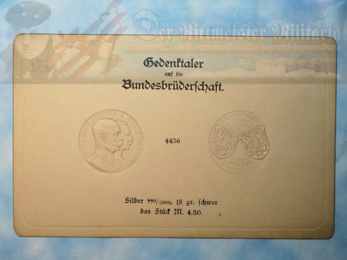 IMPERIAL GERMAN 4.5 MARK COIN IMPRESSION CARD - KAISER WILHELM II AND KAISER FRANZ JOSEF