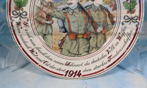 PATRIOTIC DISPLAY PLATE - 1914 - IDENTIFIED - SCHNVERT - Imperial German Military Antiques Sale