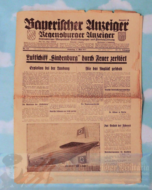 "NEWSPAPER - FEATURING THE CRASH OF THE ZEPPELIN ""HINDENBURG"" - 8 MAY 1937"
