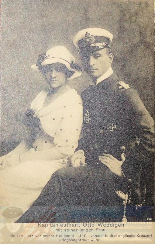 PRUSSIA - POSTCARD - KAPITÄNLEUTNANT OTTO WEDDIGEN AND HIS WIFE - NAVY - PLM-WINNER - COMMANDER OF U-9 AND U-29