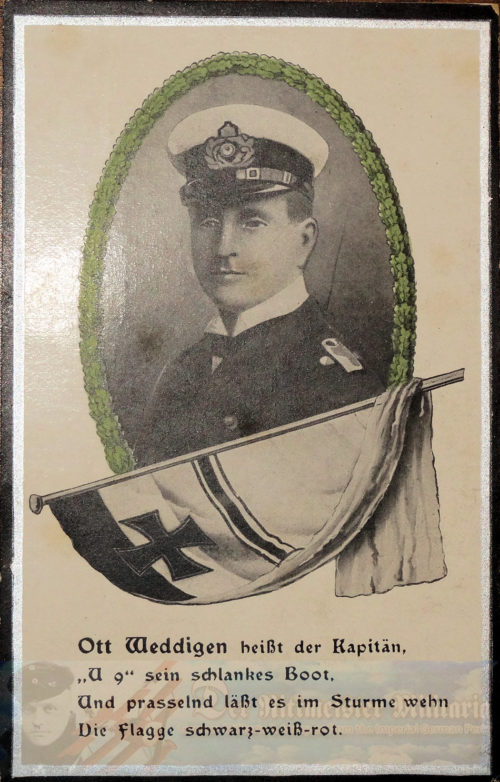 PRUSSIA - POSTCARD - KAPITÄNLEUTNANT OTTO WEDDIGEN - NAVY - PLM-WINNER - COMMANDER OF U-9 AND U-2