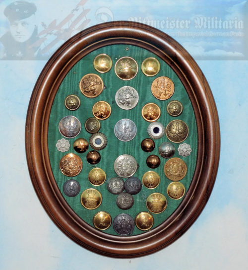 GERMANY - WALL DECOR - BUTTON AND KOKARDEN COLLECTION - PRUSSIA, BADEN, WÜRTTEMBERG, ETC. - FRAMED DISPLAY